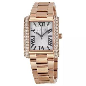 Michael Kors Emery Rose tone crystal watch w/ box